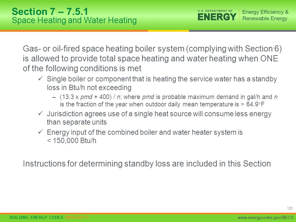Section 7 – 7.5.1 Space Heating and Water Heating