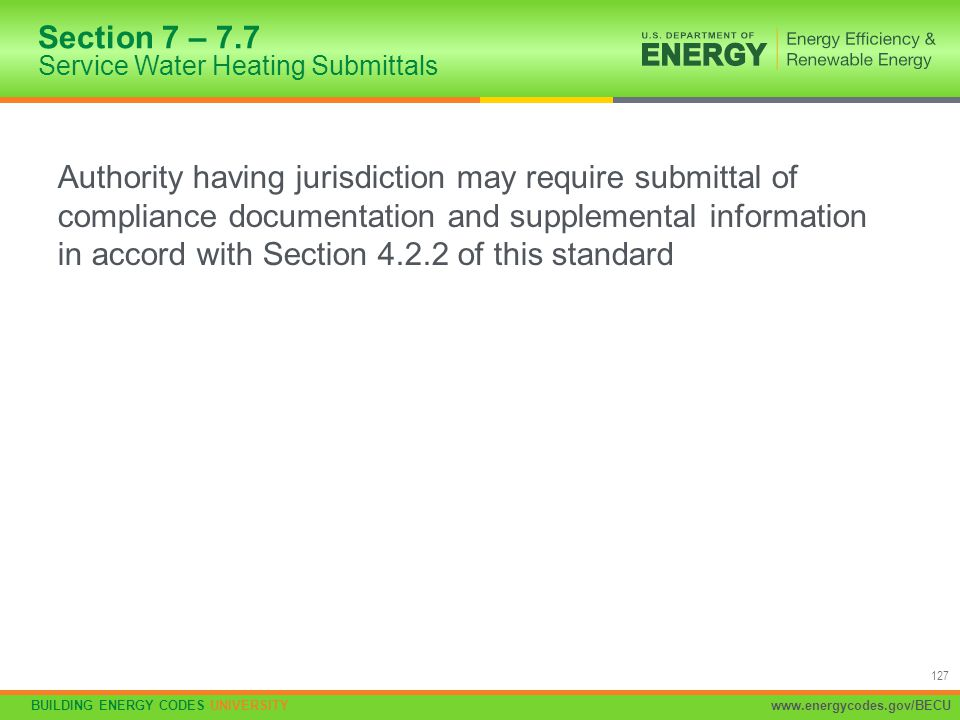 Section 7 – 7.7 Service Water Heating Submittals