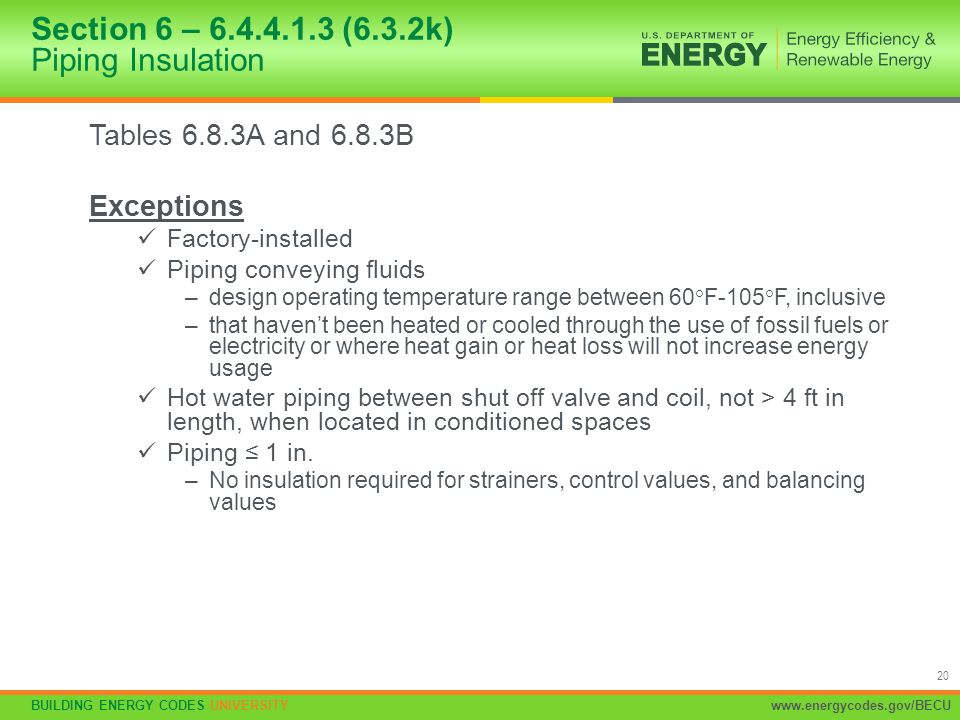 Section 6 – 6.4.4.1.3 (6.3.2k) Piping Insulation