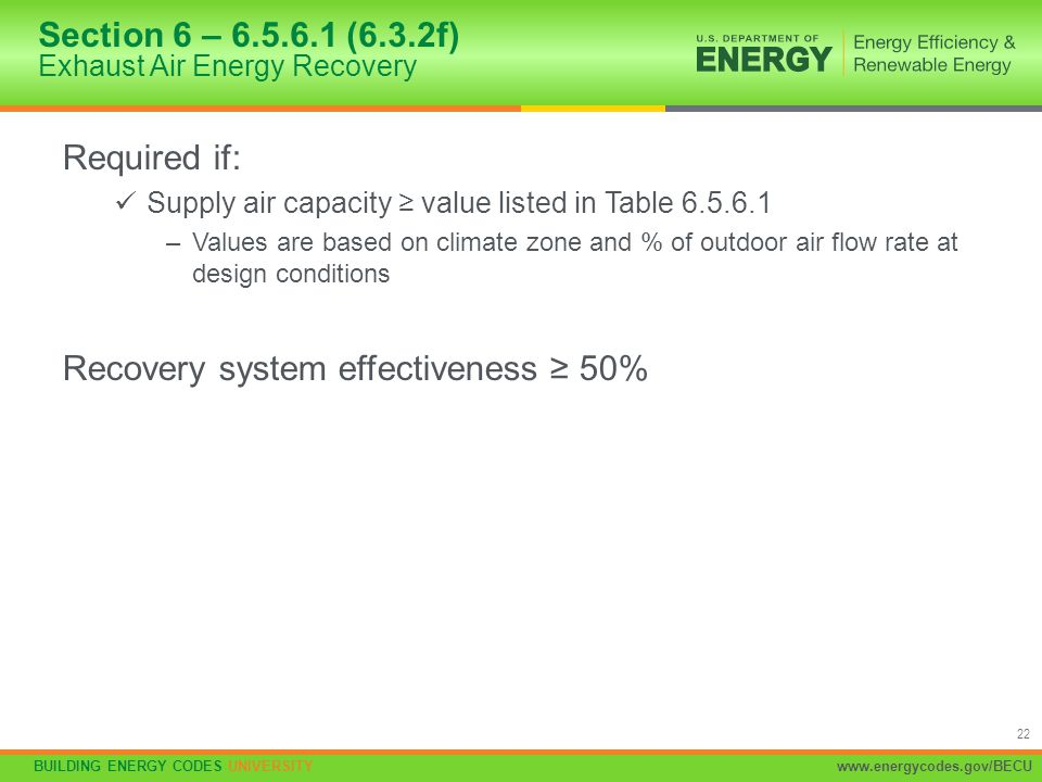 Section 6 – 6.5.6.1 (6.3.2f) Exhaust Air Energy Recovery