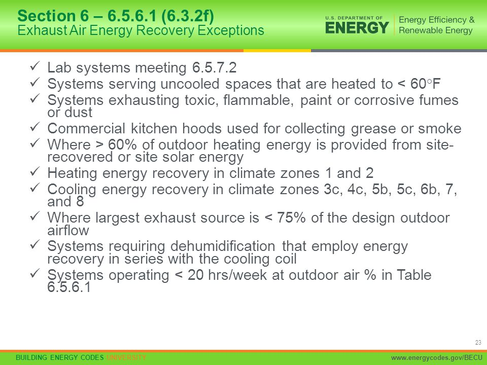 Section 6 – 6.5.6.1 (6.3.2f) Exhaust Air Energy Recovery Exceptions