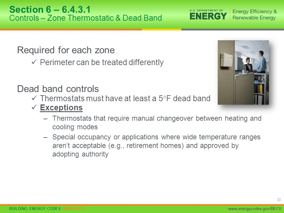 Section 6 – 6.4.3.1 Controls – Zone Thermostatic & Dead Band