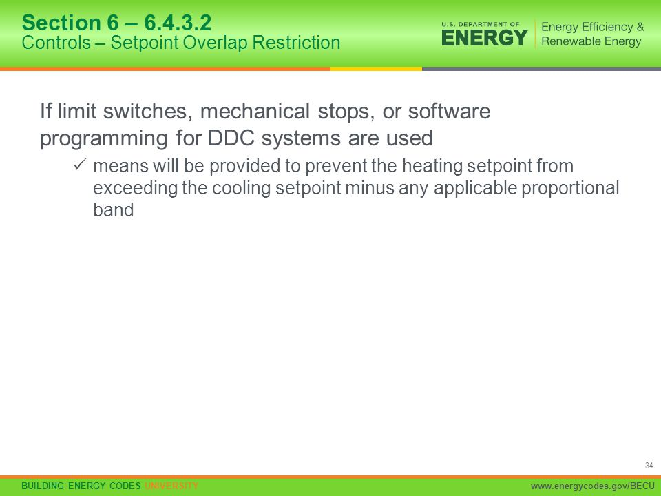 Section 6 – 6.4.3.2 Controls – Setpoint Overlap Restriction