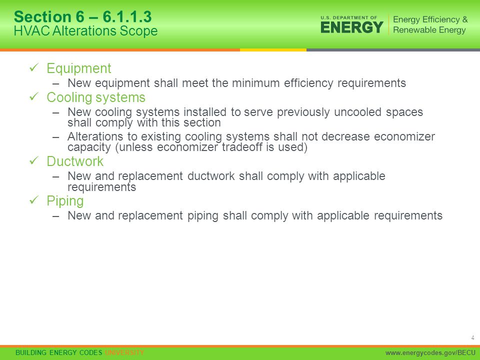 Section 6 – 6.1.1.3 HVAC Alterations Scope