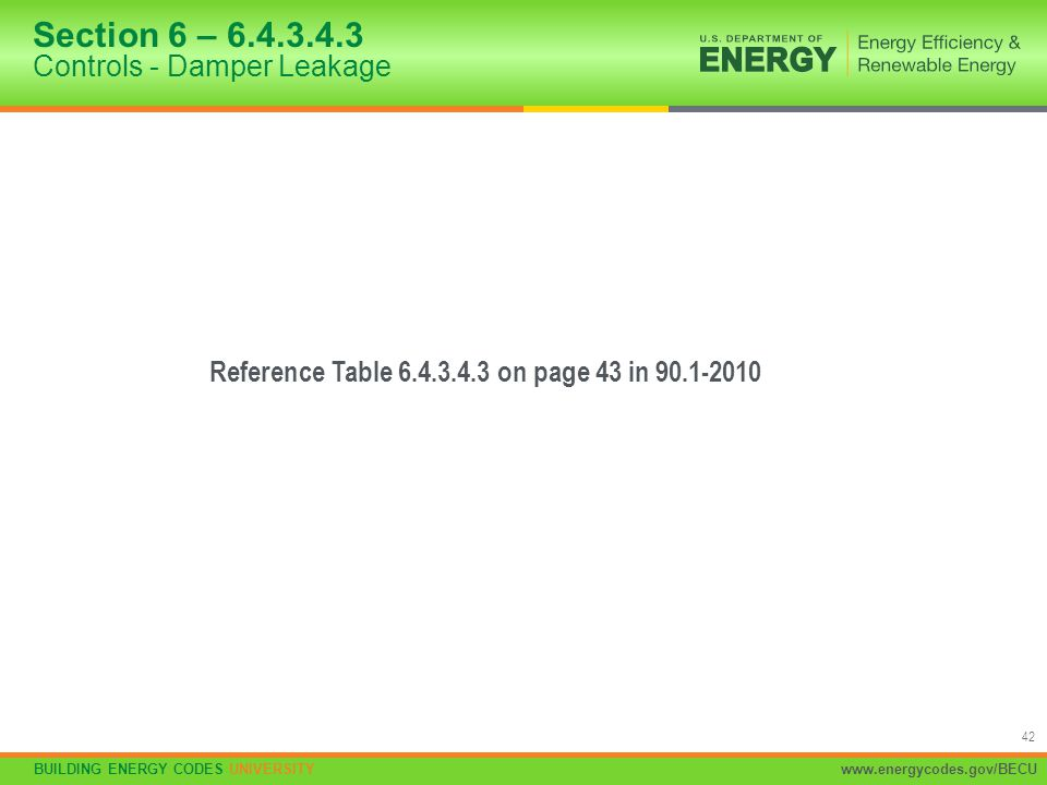 Section 6 – 6.4.3.4.3 Controls - Damper Leakage