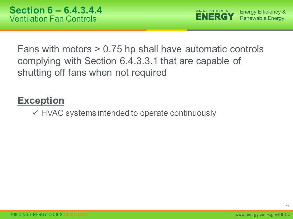 Section 6 – 6.4.3.4.4 Ventilation Fan Controls