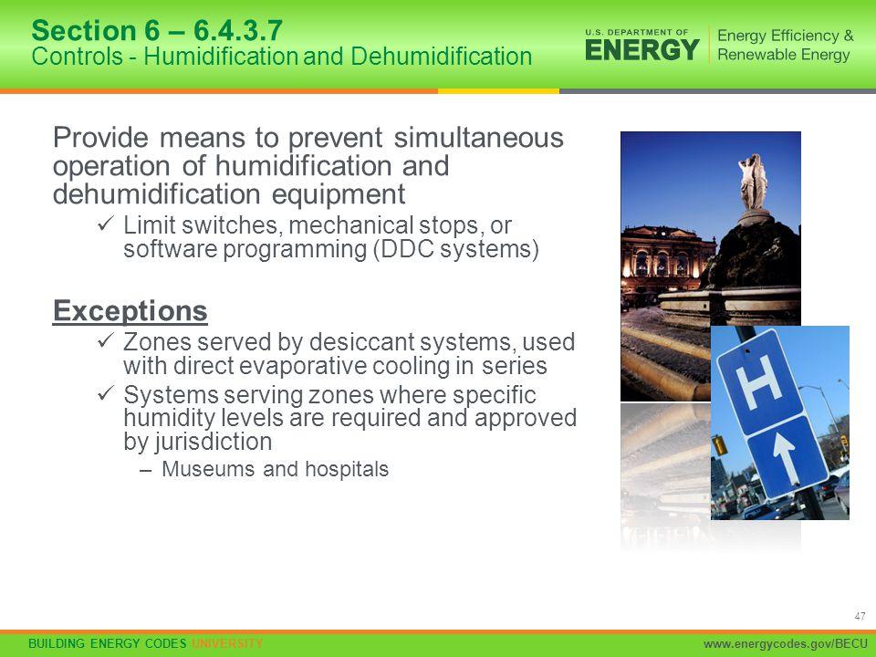 Section 6 – 6.4.3.7 Controls - Humidification and Dehumidification