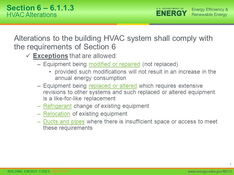 Section 6 – 6.1.1.3 HVAC Alterations