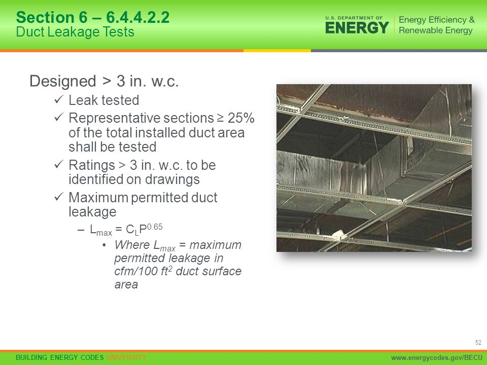 Section 6 – 6.4.4.2.2 Duct Leakage Tests