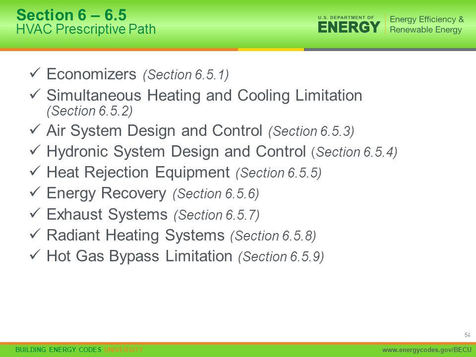 Section 6 – 6.5 HVAC Prescriptive Path