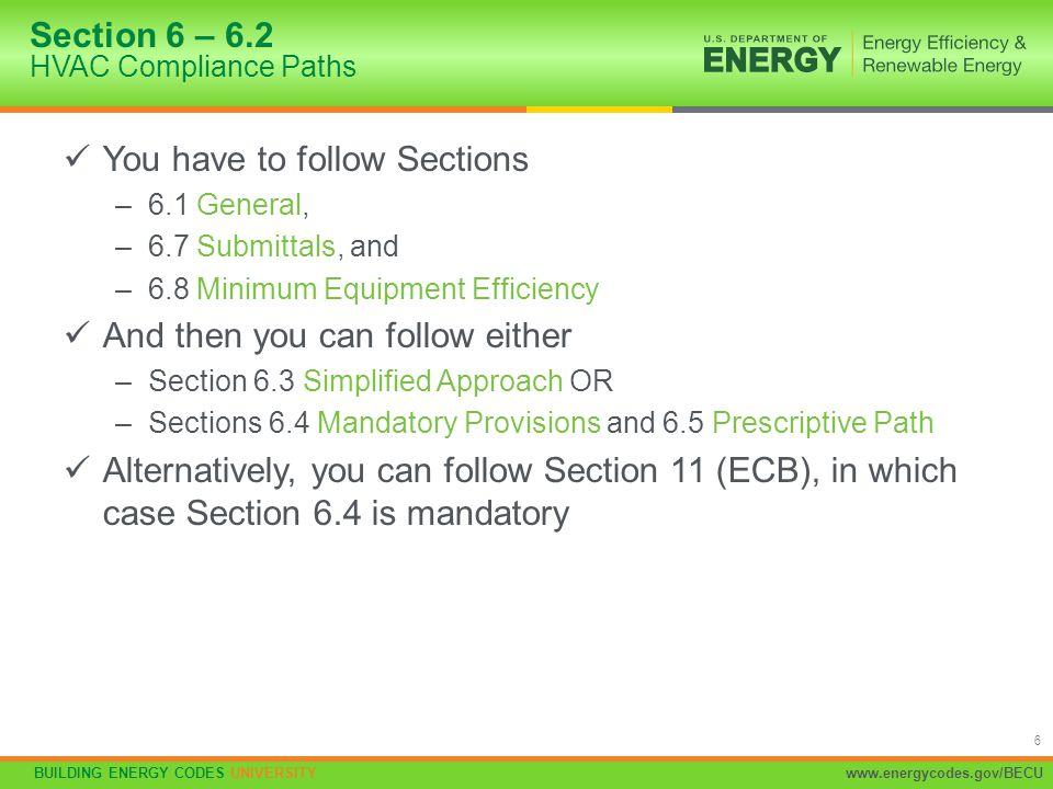 Section 6 – 6.2 HVAC Compliance Paths