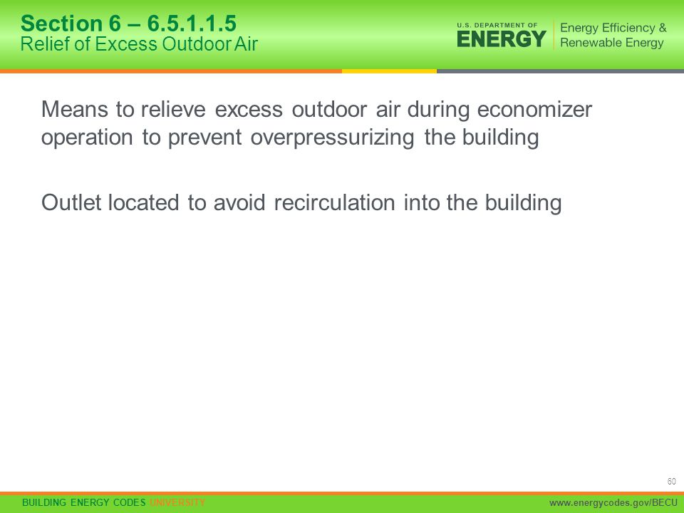 Section 6 – 6.5.1.1.5 Relief of Excess Outdoor Air