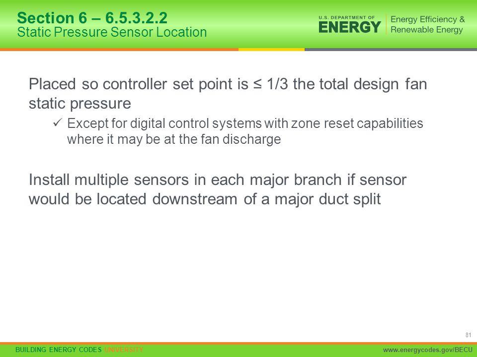 Section 6 – 6.5.3.2.2 Static Pressure Sensor Location