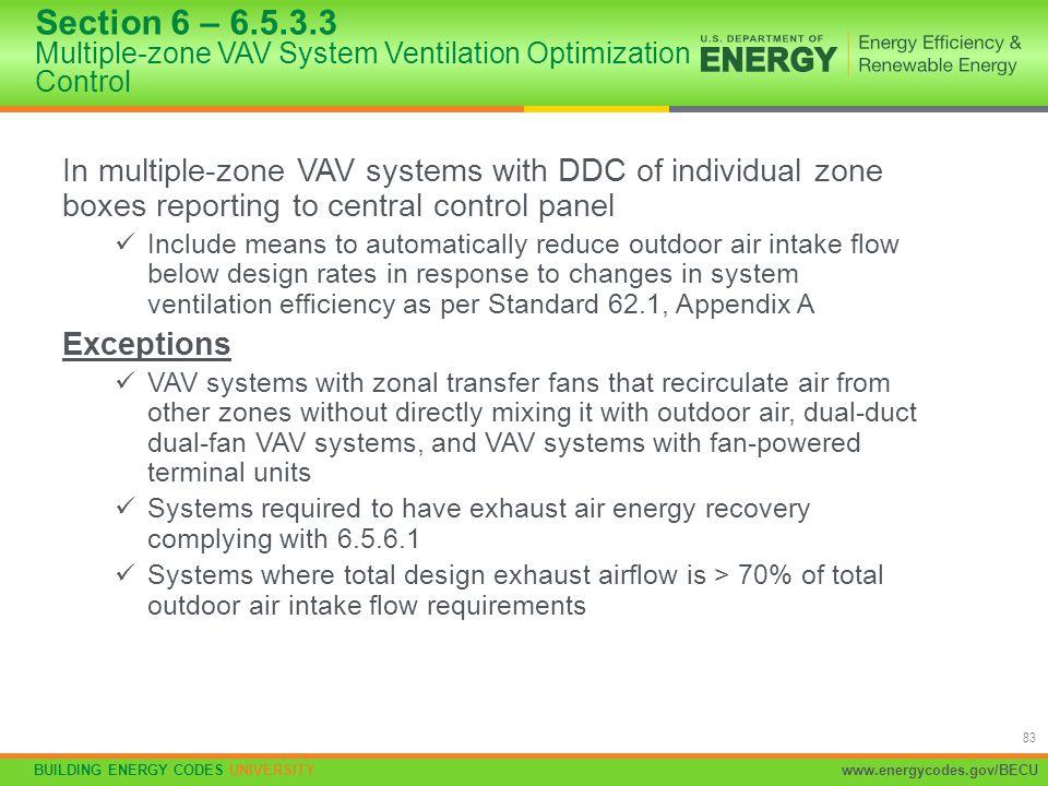 Section 6 – 6.5.3.3 Multiple-zone VAV System Ventilation Optimization Control