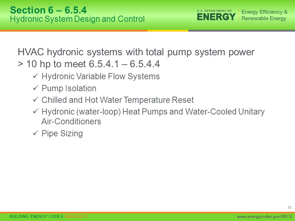Section 6 – 6.5.4 Hydronic System Design and Control