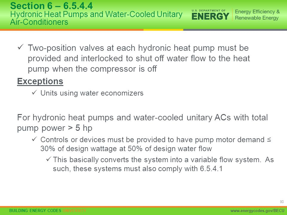 Section 6 – 6.5.4.4 Hydronic Heat Pumps and Water-Cooled Unitary Air-Conditioners