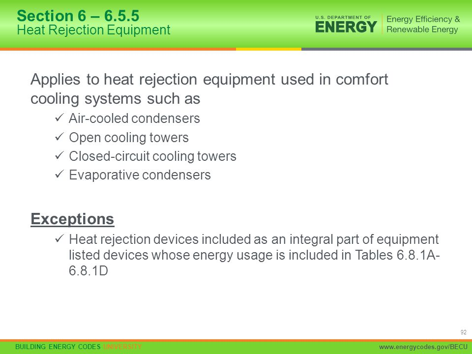 Section 6 – 6.5.5 Heat Rejection Equipment