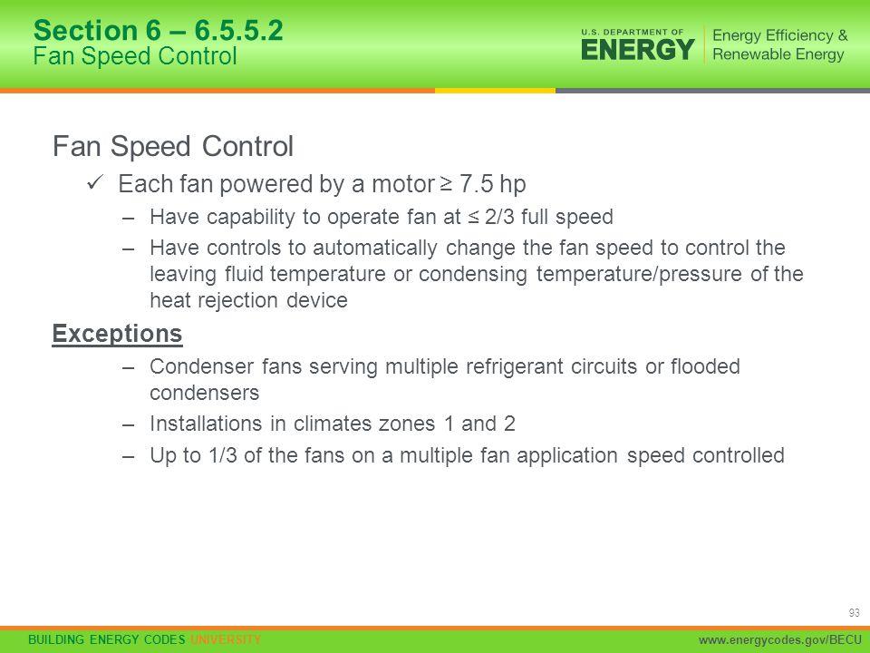 Section 6 – 6.5.5.2 Fan Speed Control