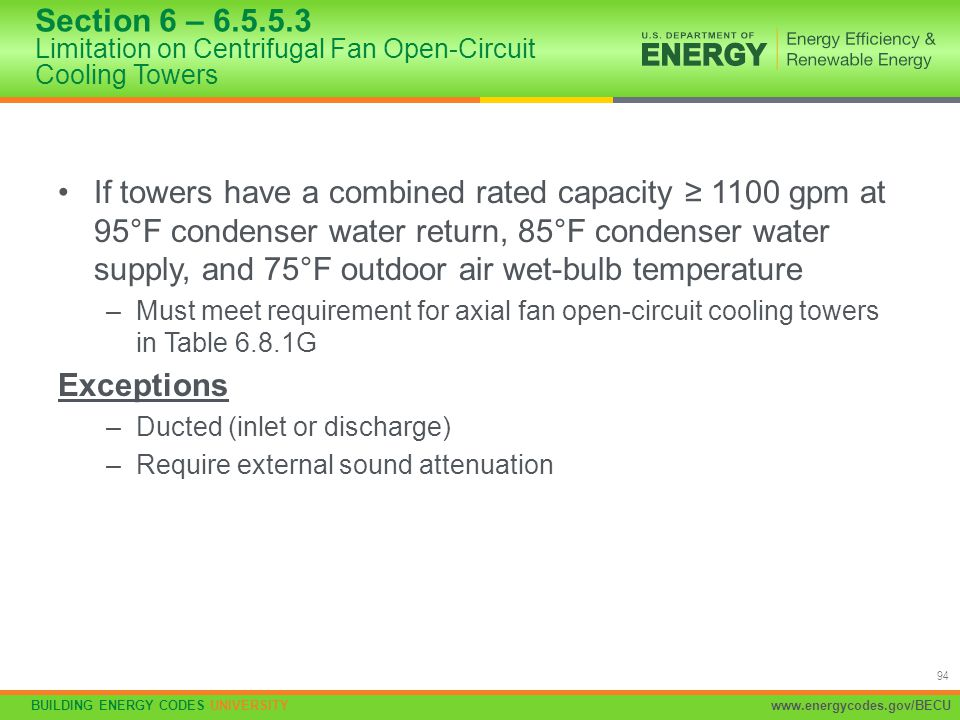 Section 6 – 6.5.5.3 Limitation on Centrifugal Fan Open-Circuit Cooling Towers