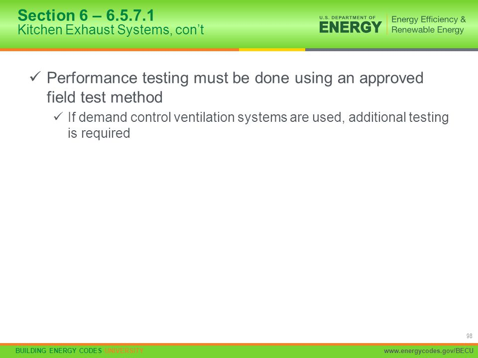 Section 6 – 6.5.7.1 Kitchen Exhaust Systems, con't