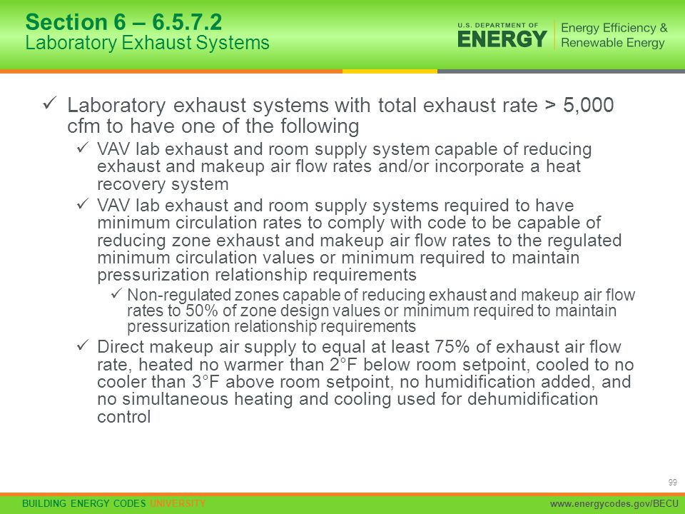 Section 6 – 6.5.7.2 Laboratory Exhaust Systems