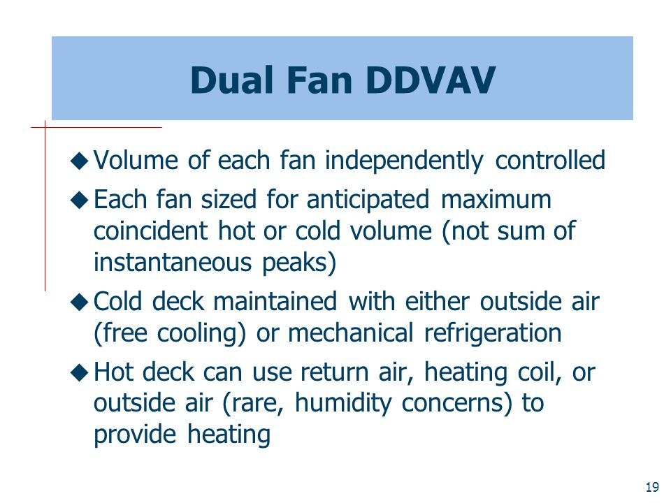 Dual Fan DDVAV Volume of each fan independently controlled