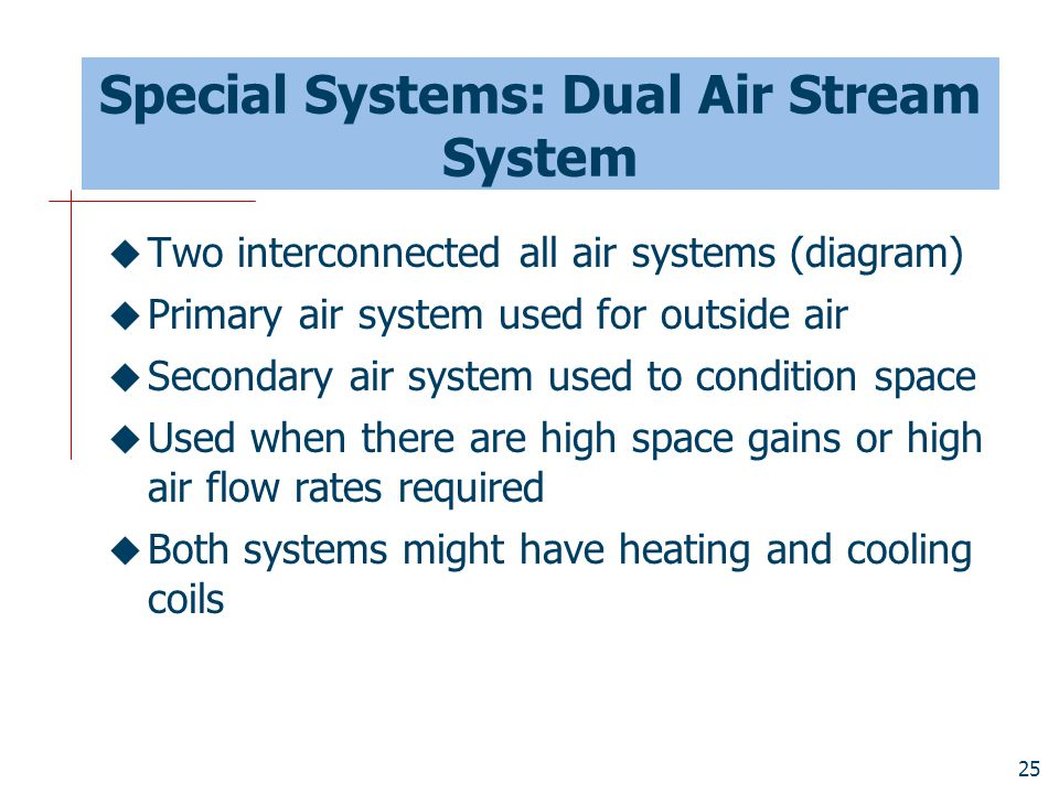 Special Systems: Dual Air Stream System