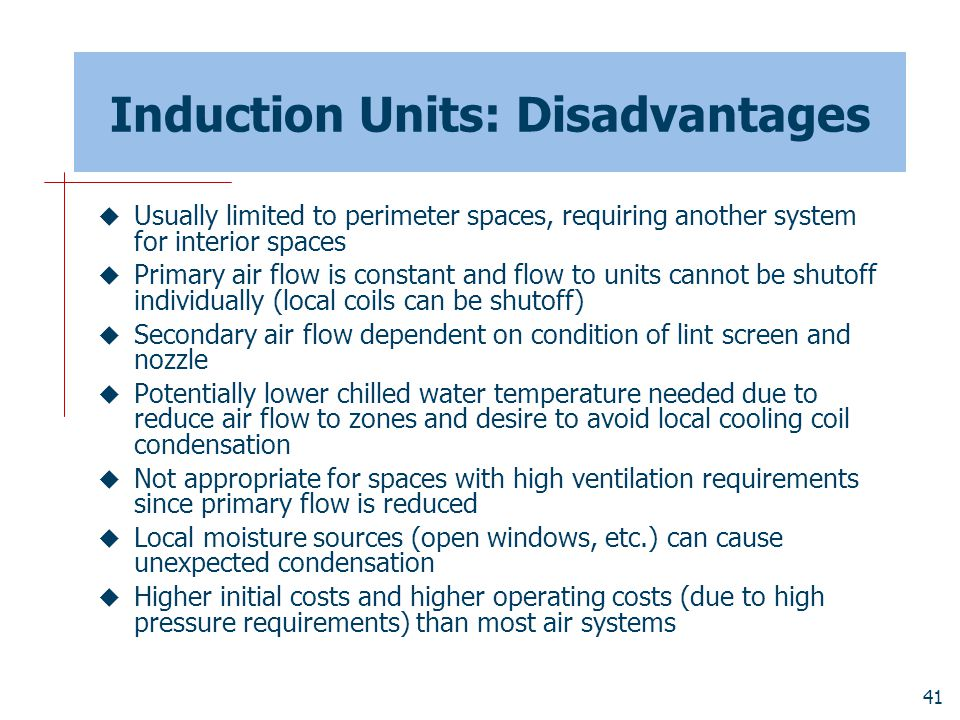 Induction Units: Disadvantages