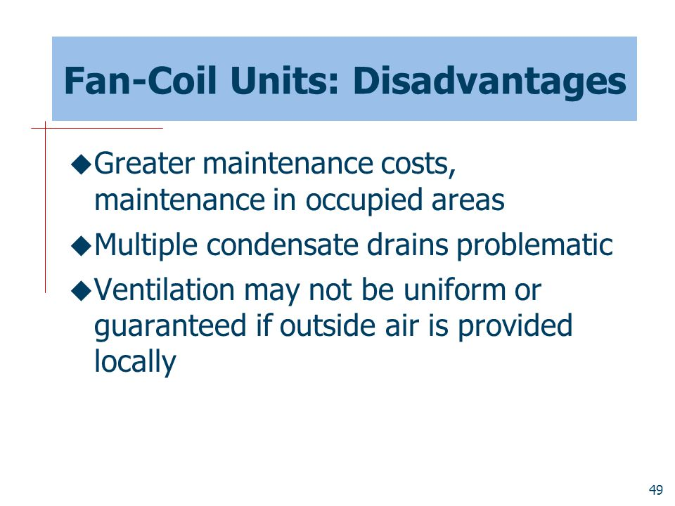 Fan-Coil Units: Disadvantages