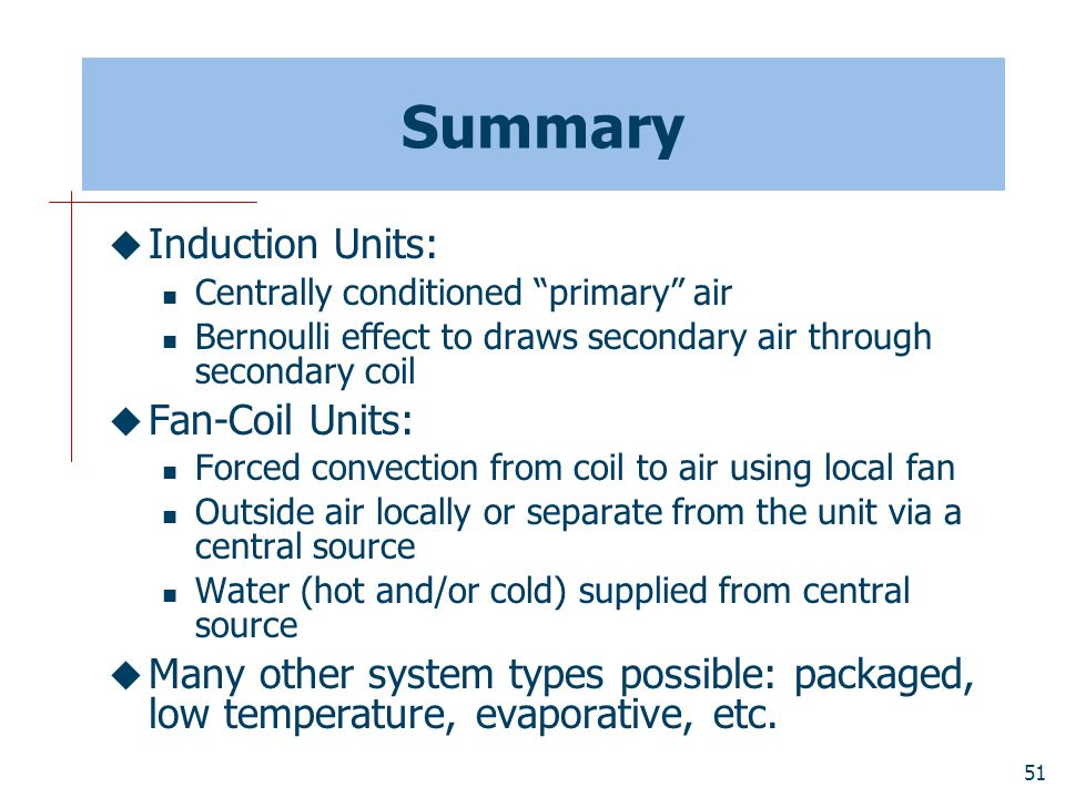 Summary Induction Units: Fan-Coil Units: