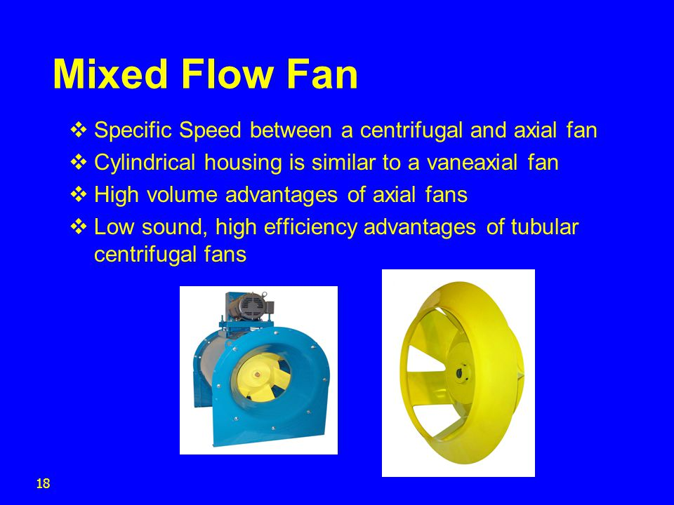 Mixed Flow Fan Specific Speed between a centrifugal and axial fan