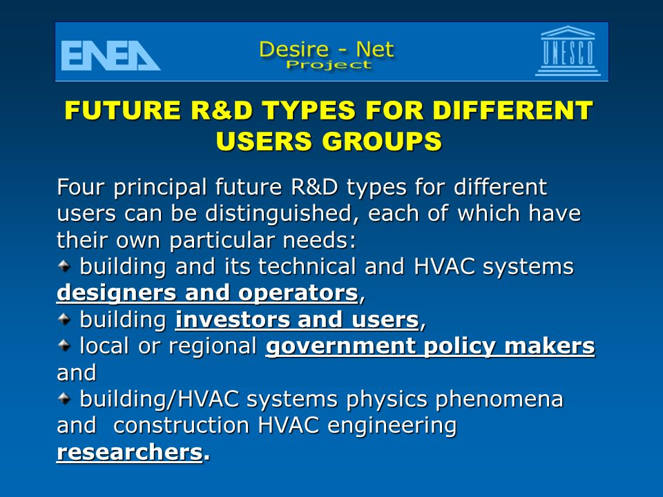 FUTURE R&D TYPES FOR DIFFERENT USERS GROUPS
