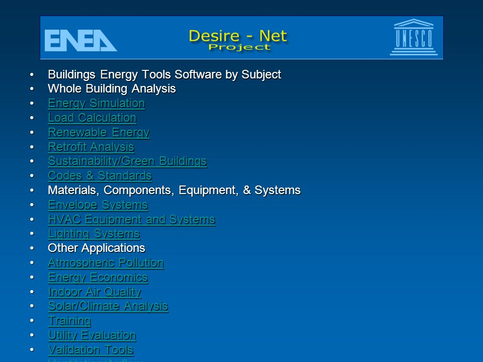 Buildings Energy Tools Software by Subject