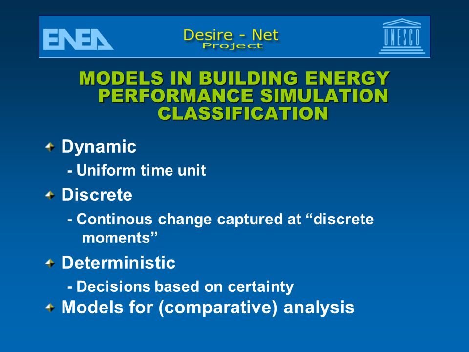 MODELS IN BUILDING ENERGY PERFORMANCE SIMULATION CLASSIFICATION
