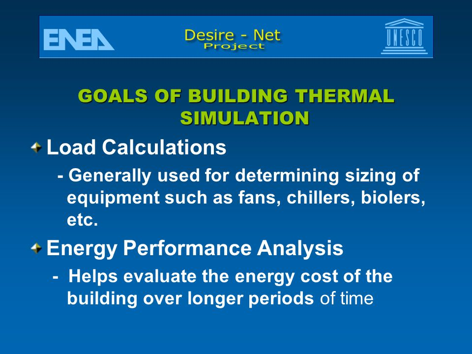 GOALS OF BUILDING THERMAL SIMULATION