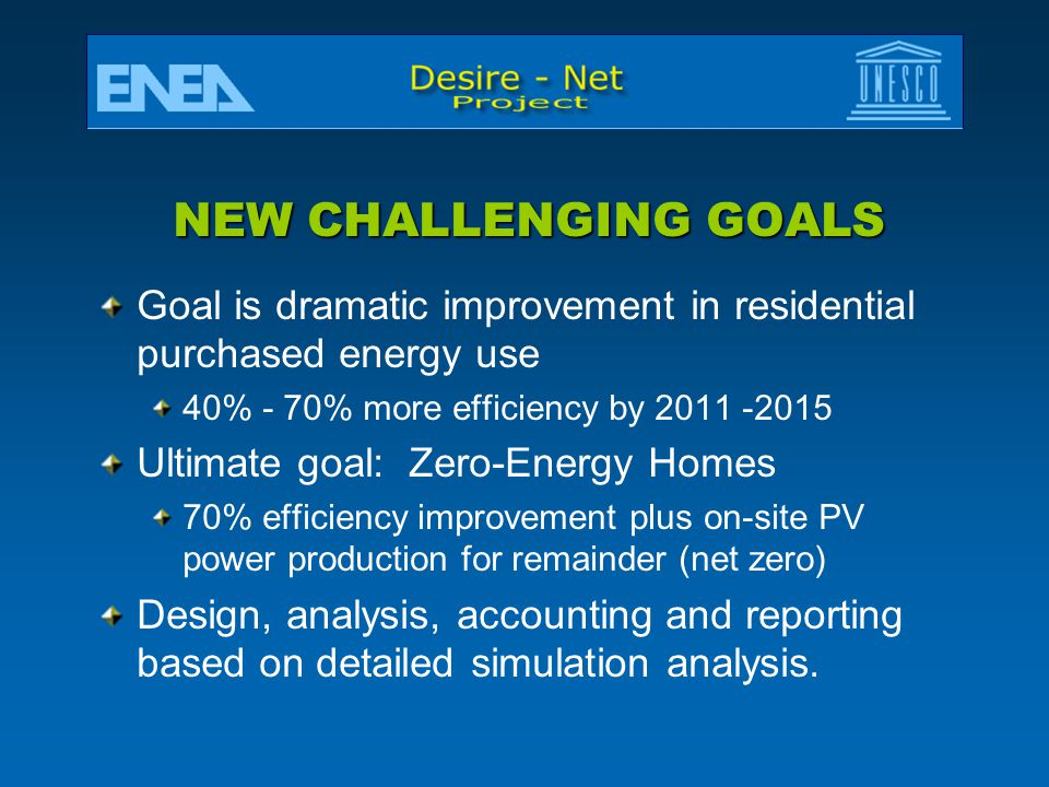 NEW CHALLENGING GOALS Goal is dramatic improvement in residential purchased energy use. 40% - 70% more efficiency by 2011 -2015.