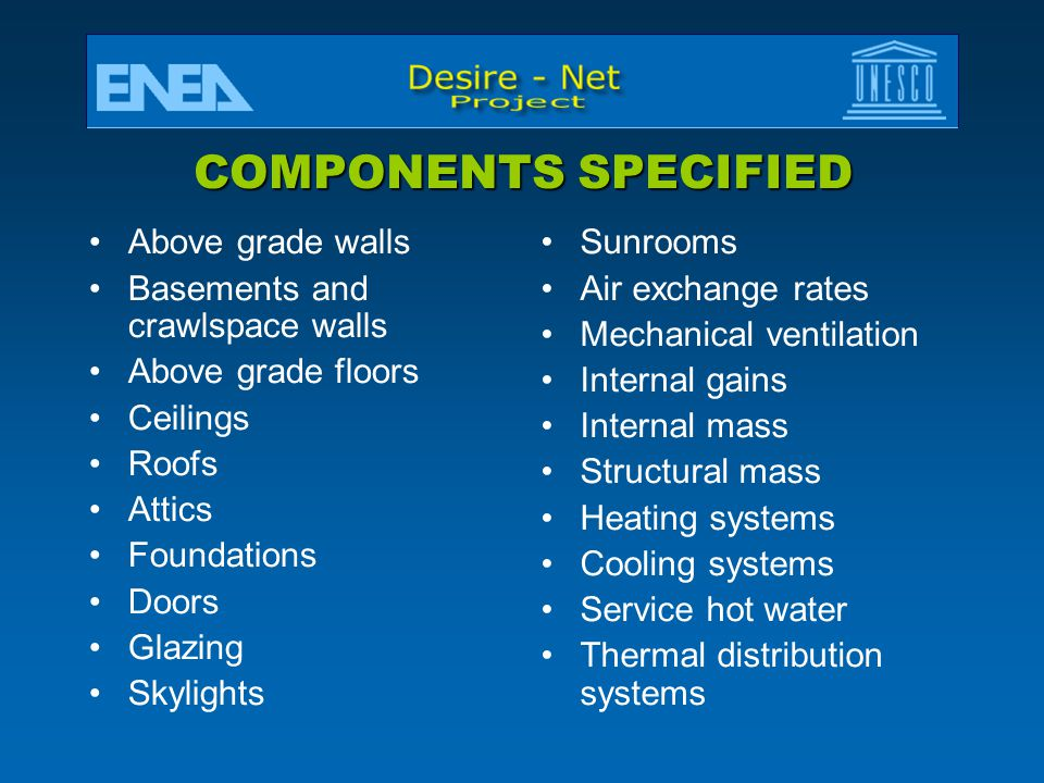 COMPONENTS SPECIFIED Above grade walls Basements and crawlspace walls
