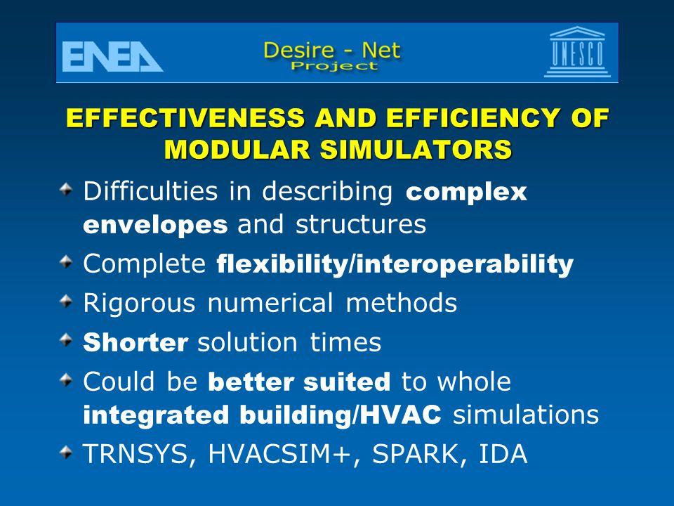 EFFECTIVENESS AND EFFICIENCY OF MODULAR SIMULATORS