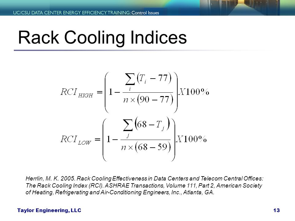 Rack Cooling Indices