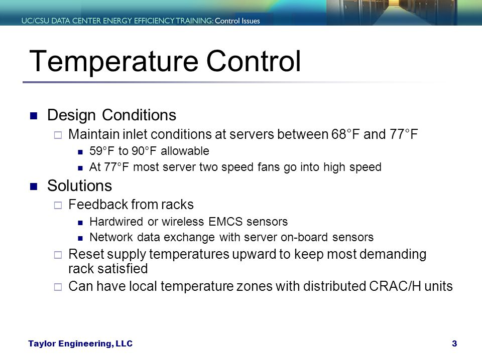 Temperature Control Design Conditions Solutions