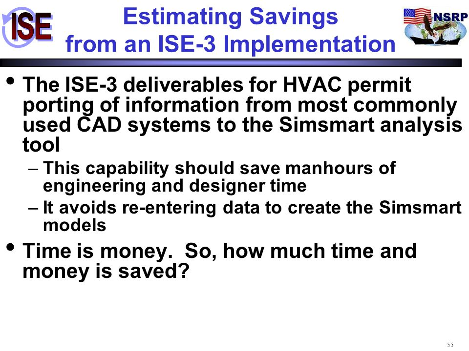Estimating Savings from an ISE-3 Implementation