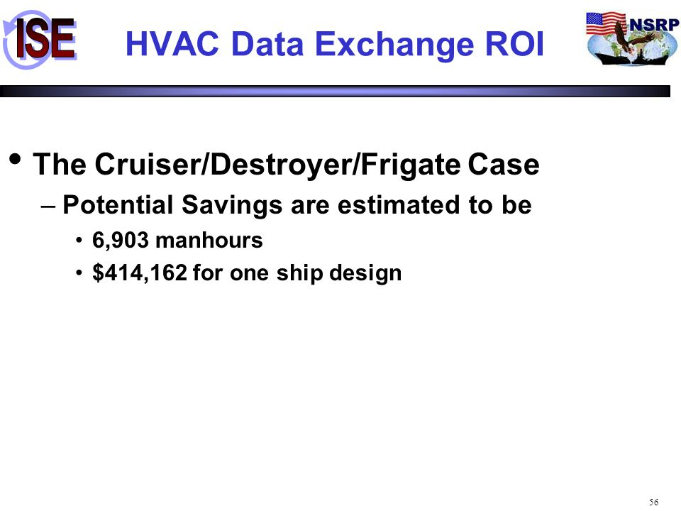 HVAC Data Exchange ROI The Cruiser/Destroyer/Frigate Case
