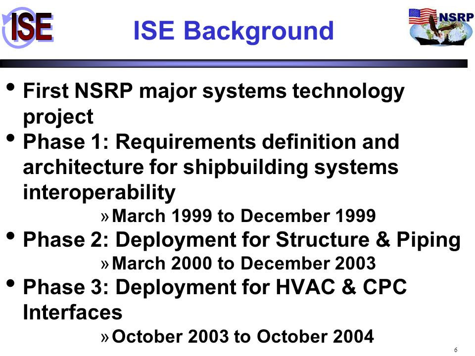 ISE Background First NSRP major systems technology project
