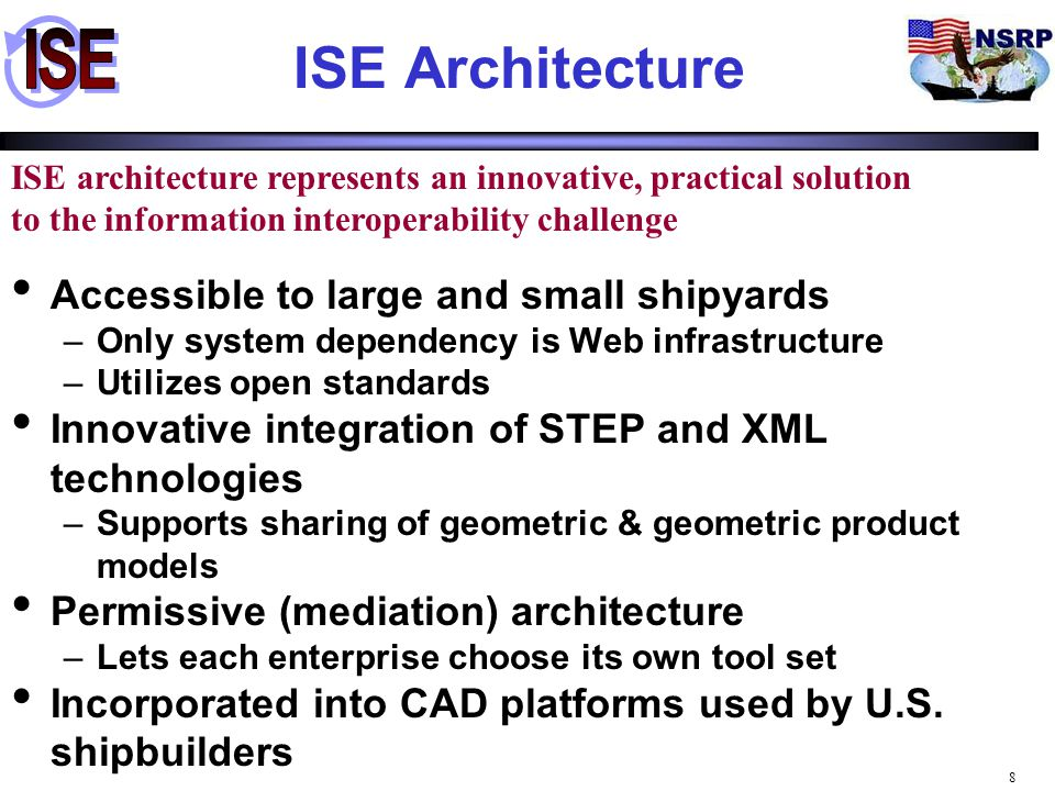 ISE Architecture Accessible to large and small shipyards