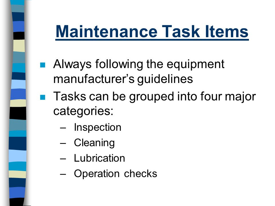 Maintenance Task Items