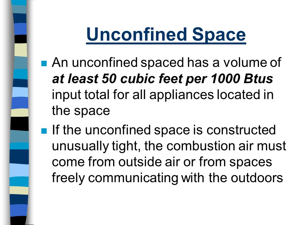 Unconfined Space An unconfined spaced has a volume of at least 50 cubic feet per 1000 Btus input total for all appliances located in the space.