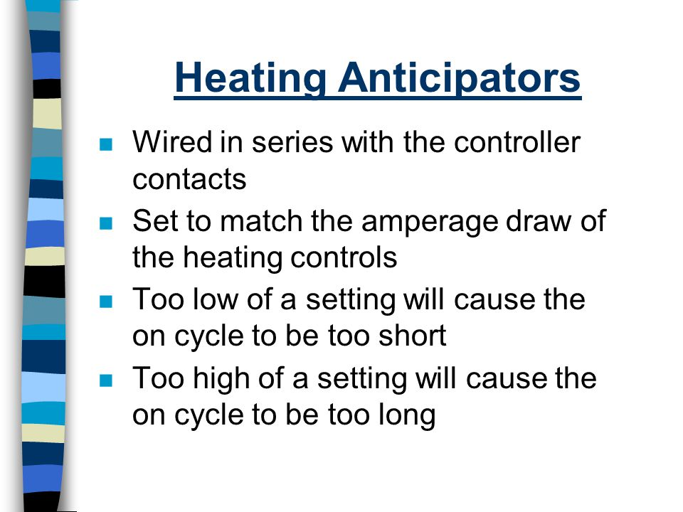 Heating Anticipators Wired in series with the controller contacts