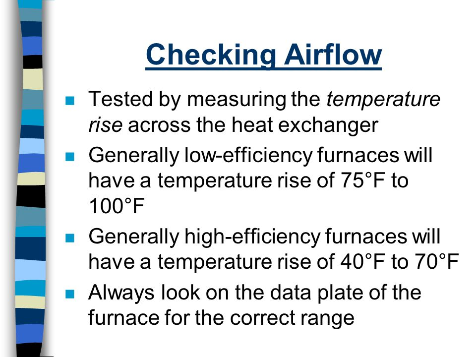 Checking Airflow Tested by measuring the temperature rise across the heat exchanger.