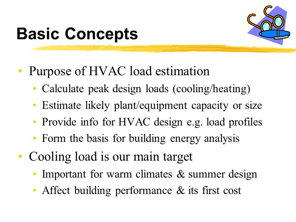 Basic Concepts Purpose of HVAC load estimation