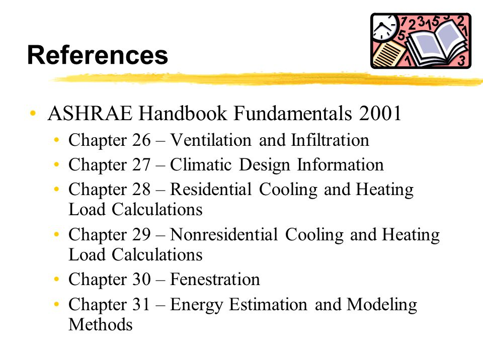 References ASHRAE Handbook Fundamentals 2001